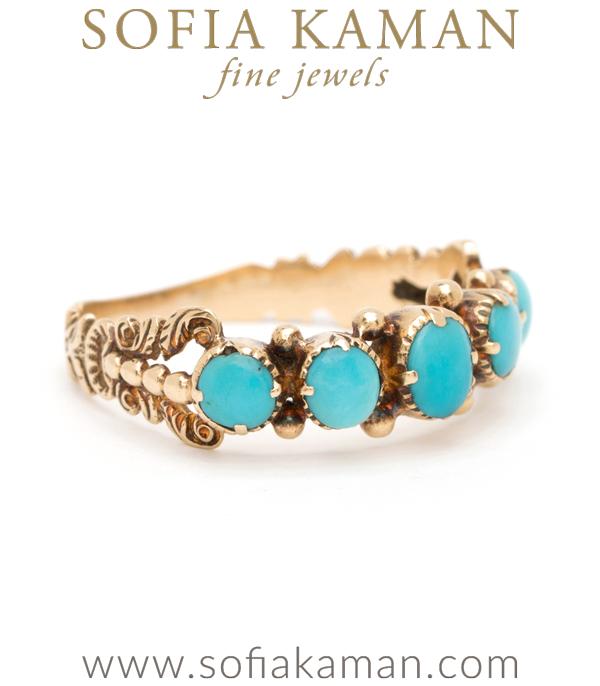 Vintage Regency Turquoise Half Hoop Ring