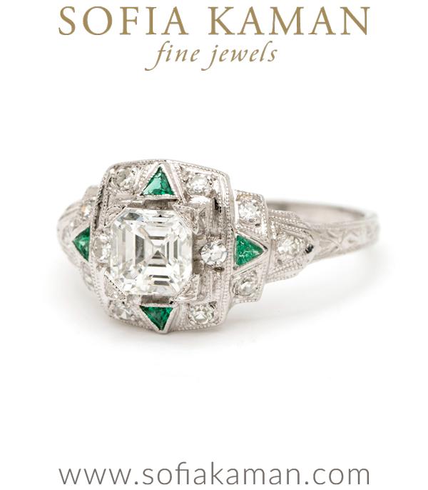 Platinum Art Deco Diamond Vintage Engagement Ring