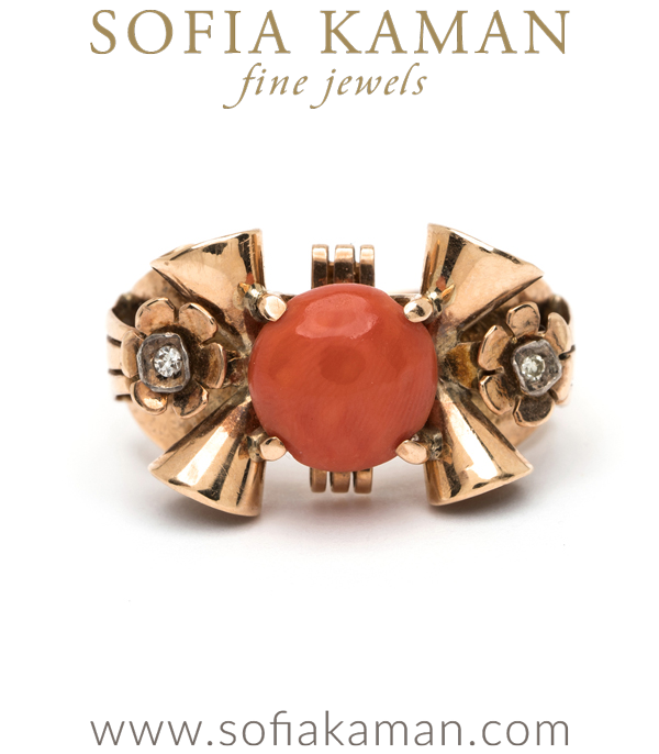 Deco/40s handmade 18K gold ring with natural coral centerstone curated by Sofia Kaman