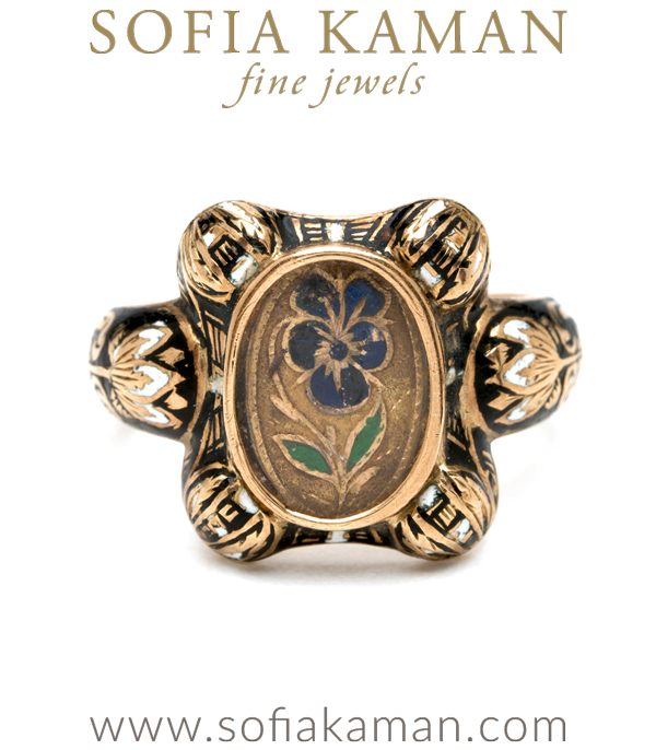 Vintage Victorian Gold Enamel Portrait Pansy Ring curated by Sofia Kaman.