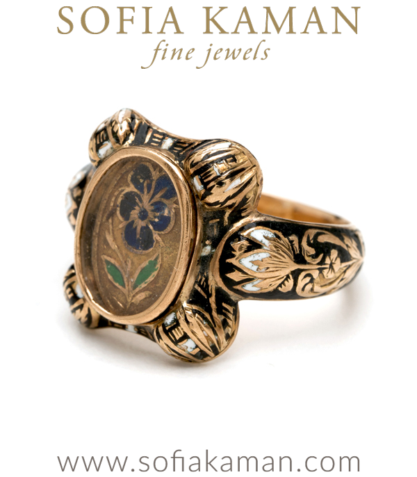 Vintage Victorian Gold Enamel Portrait Pansy Ring