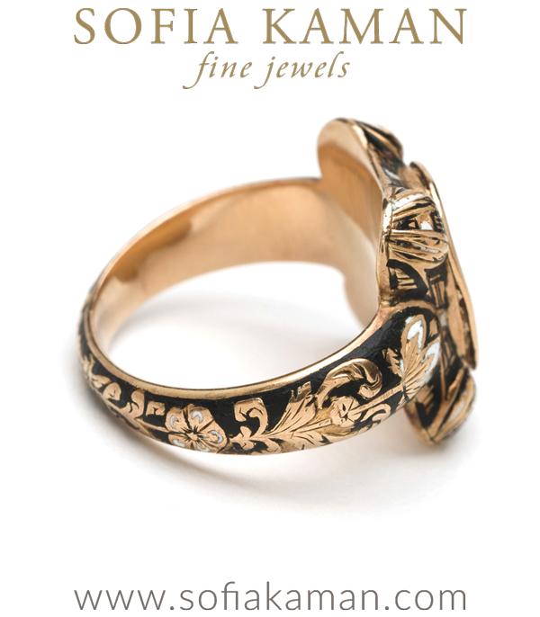 Vingtage Victorian Gold Enamal Portrait Ring