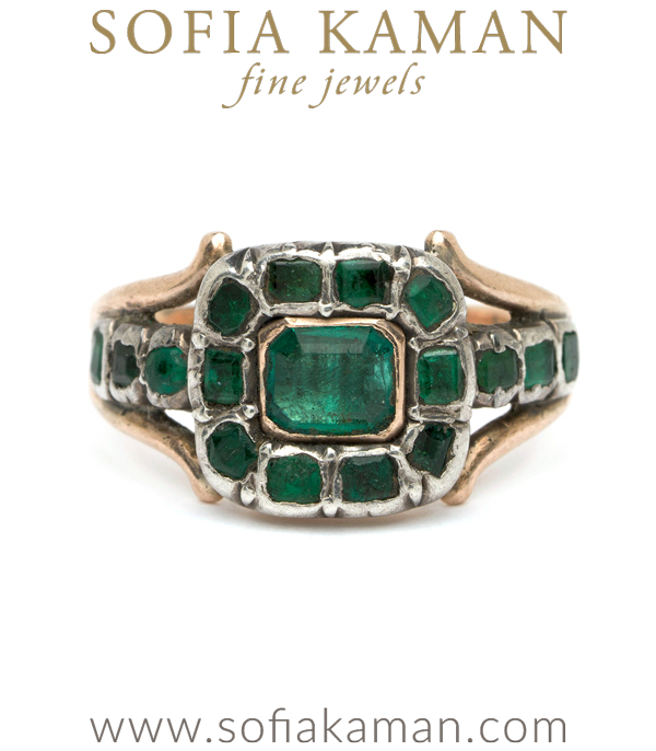 "A Georgian emerald ring to envy! Emerald's lush green hue has soothed souls and excited imaginations since antiquity. The first known emerald mines were in Egypt, dating from at least 330 BC into the 1700s. Cleopatra was known to have a passion for emerald, and used it in her royal adornments. We love this Georgian emerald beauty for its lush green color, low profile and regal presence. We named it ""the Cleo"" for one of this gem's original fans! Circa 1780.Size 7.25**SOLD** curated by Sofia Kaman.  This piece has been sold and is in Vintage Archive."