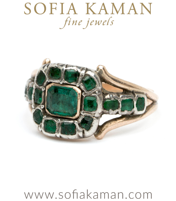 "A Georgian emerald ring to envy! Emerald's lush green hue has soothed souls and excited imaginations since antiquity. The first known emerald mines were in Egypt, dating from at least 330 BC into the 1700s. Cleopatra was known to have a passion for emerald, and used it in her royal adornments. We love this Georgian emerald beauty for its lush green color, low profile and regal presence. We named it ""the Cleo"" for one of this gem's original fans! Circa 1780.Size 7.25**SOLD**"