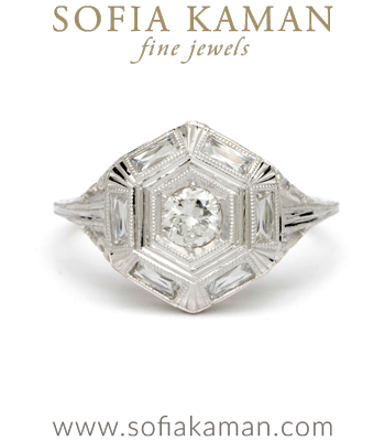 White Gold Hexagon Diamond Ring