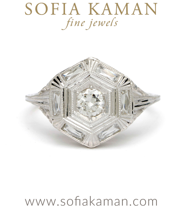 Art Deco 14k White Gold Hexagon French Cut Old Mine Cut Diamond Vintage Engagement Ring curated by Sofia Kaman