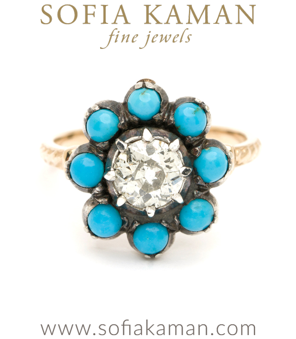 Victorian Diamond Turquoise Vintage Engagement Diamond Cluster Ring curated by Sofia Kaman.  This piece has been sold and is in Vintage Archive.