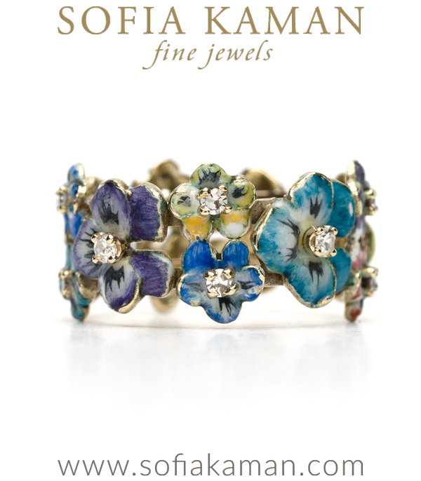 Vintage Art Nouveau Enamel Diamond Pansy Ring curated by Sofia Kaman.  This piece has been sold and is in Vintage Archive.