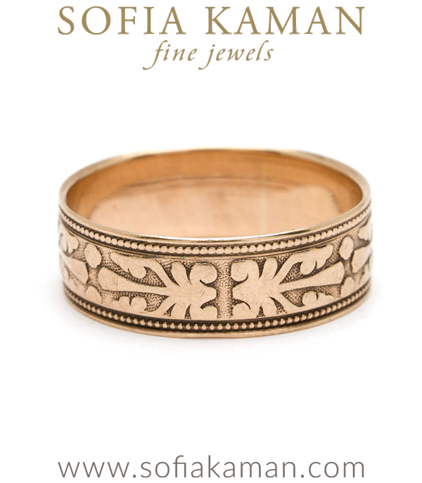 Vintage Victorian Stackable Engravable Wide Wedding Band curated by Sofia Kaman.  This piece has been sold and is in Vintage Archive.