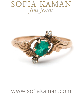 Vintage Ring from Victorian Era with Emeralds and Rose Cut Diamonds curated by Sofia Kaman