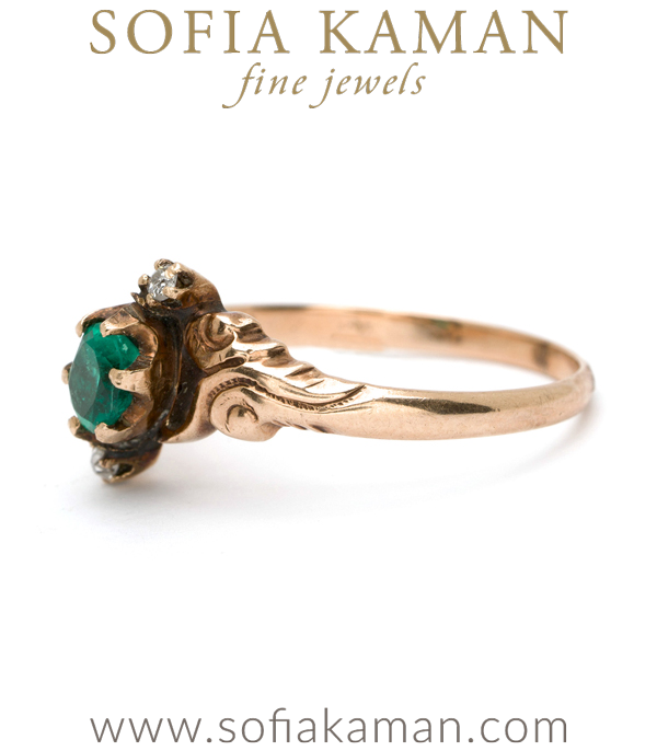 Vintage Ring from Victorian Era with Emeralds and Rose Cut Diamonds