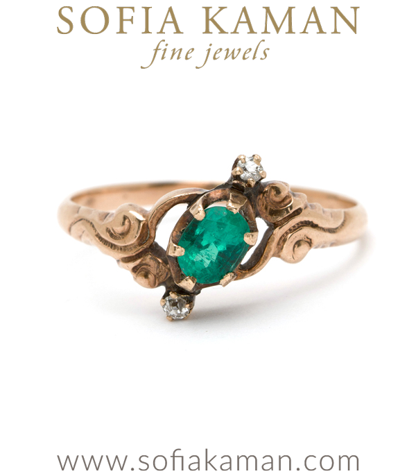 Vintage Ring from Victorian Era with Emeralds and Rose Cut Diamonds curated by Sofia Kaman.  This piece has been sold and is in Vintage Archive.
