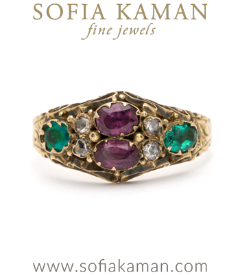 Vintage Ring from Victorian Era with Garnet Emerald Diamond curated by Sofia Kaman