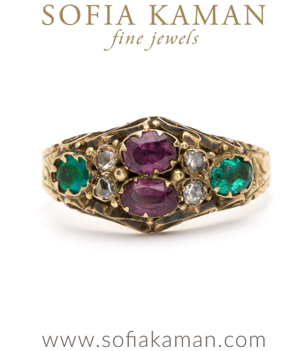 Vintage Ring from Victorian Era with Garnet Emerald Diamond curated by Sofia Kaman.  This piece has been sold and is in Vintage Archive.