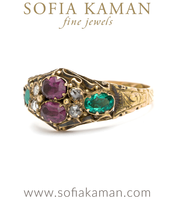Vintage Victorian Garnet Emerald Diamond Ring