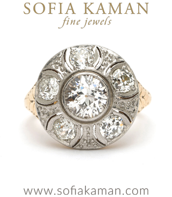 Vintage Edwardian Platinum 18k Gold Old European Cut Diamond Flower Cluster Ring.