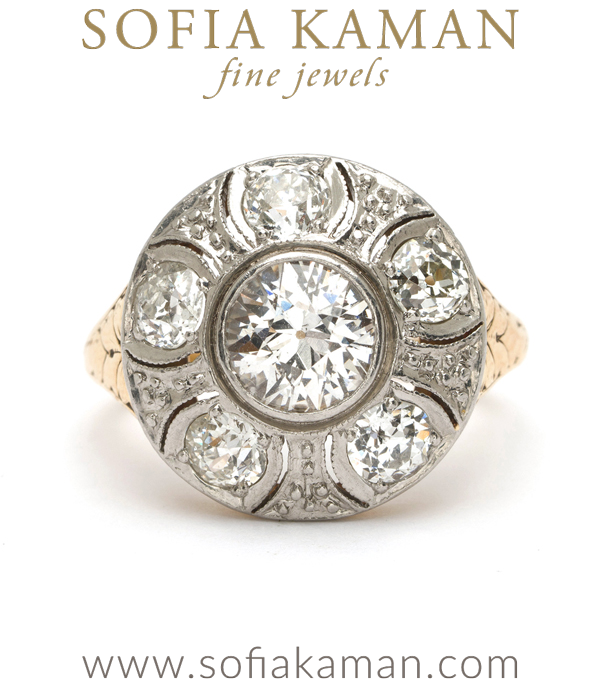 Vintage Edwardian Platinum 18k Gold Old European Cut Diamond Flower Cluster Ring One of Our Many Vintage Engagement Rings curated by Sofia Kaman.