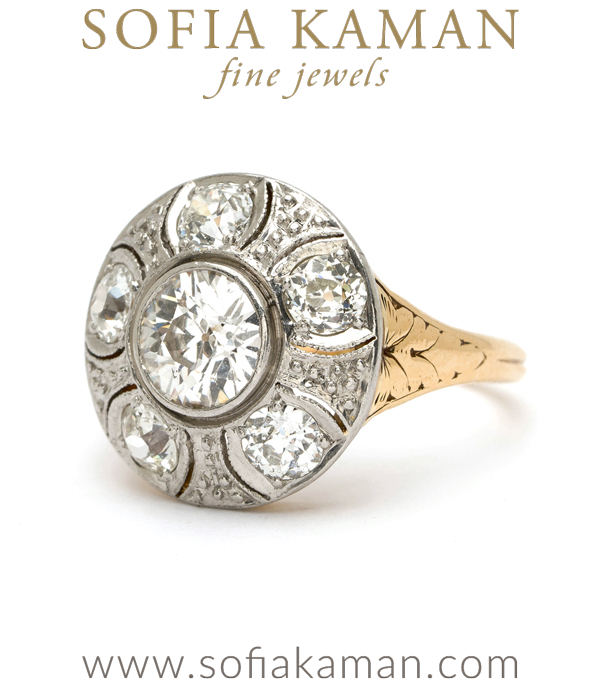 Vintage Edwardian Platinum Gold Diamond Cluster Ring