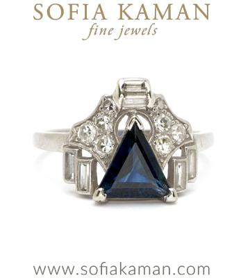 Sapphire Engagement Rings Vintage Art Deco Platinum Triangle Cut Sapphire Diamond Baguete Ring curated by Sofia Kaman