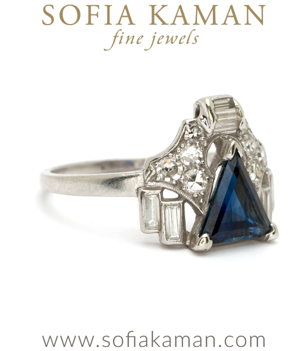 Vintage Art Deco Triangle Sapphire Diamond Ring
