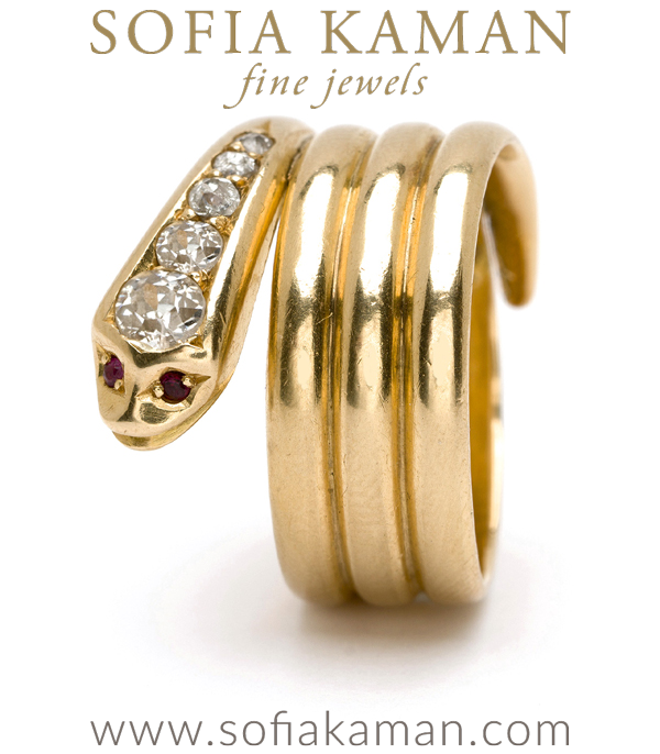 Vintage Victorian Gold Old Mine Cut Diamond Snake Eternal Love Ring curated by Sofia Kaman