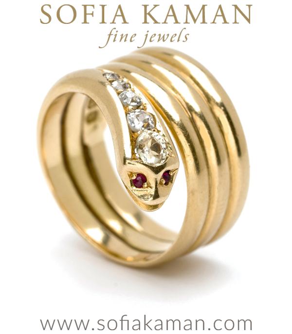 Victorian Vintage Bohemian Gold Diamond Snake Ring