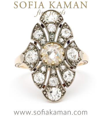 Vintage Art Deco Rose Cut Diamond Center Old European Cut Diamond Accents Boho Statement Ring