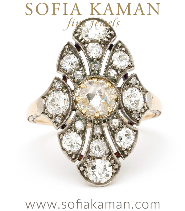 Vintage Art Deco Rose Cut Diamond Center Old European Cut Diamond Accents Boho Statement Ring curated by Sofia Kaman.
