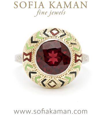 Vintage Retro 1950's Bohemian Garnet January Birthstone Enamal Statement Ring