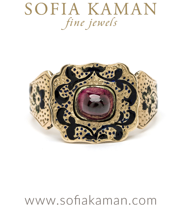 Antique Victorian Black Enamel Garnet January Birthstone Statement Ring curated by Sofia Kaman