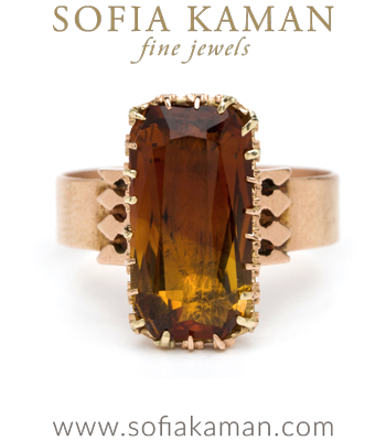 Rose Gold Vintage Victorian Brandy Citrine Boho Ring curated by Sofia Kaman