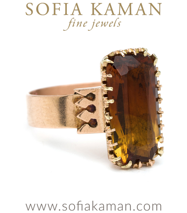 14k Rose Gold Victorian Boho Citrine Ring