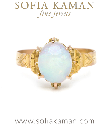 Vintage Victorian Gold Opal Boho Stacking Ring curated by Sofia Kaman