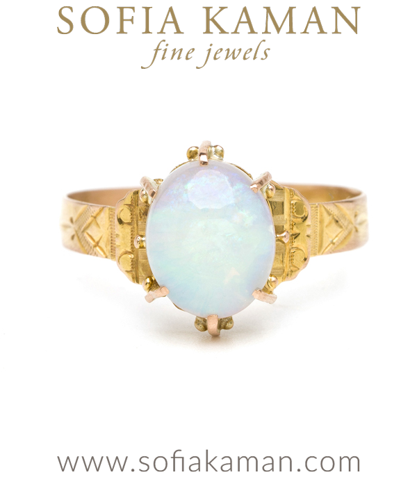Vintage Victorian Gold Opal Boho Stacking Ring curated by Sofia Kaman.