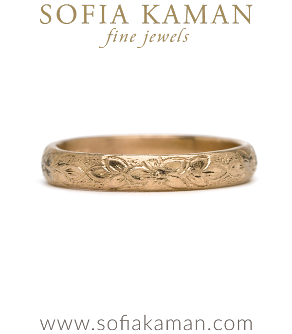 Victorian Rose Gold Etched Flower Vintage Wedding Band curated by Sofia Kaman.