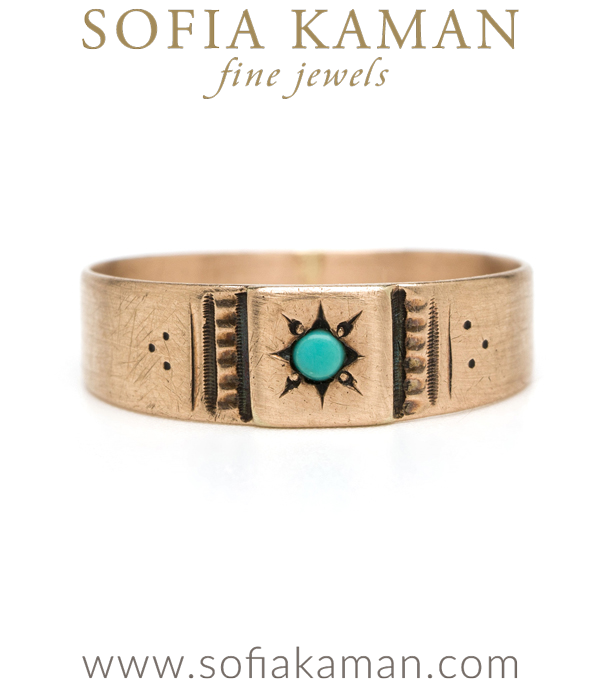 Victorian 14K Rose Gold Turquoise Vintage Baby Stacking Ring curated by Sofia Kaman.  This piece has been sold and is in Vintage Archive.