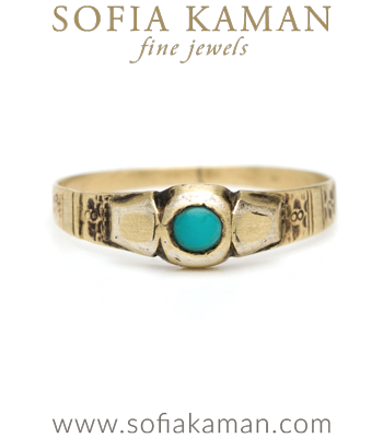 Victorian Yellow Gold Turquoise Vintage Stacking Ring curated by Sofia Kaman