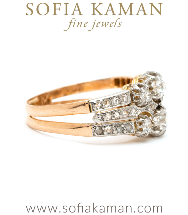 Vintage Edwardian Platinum Gold Diamond Ring