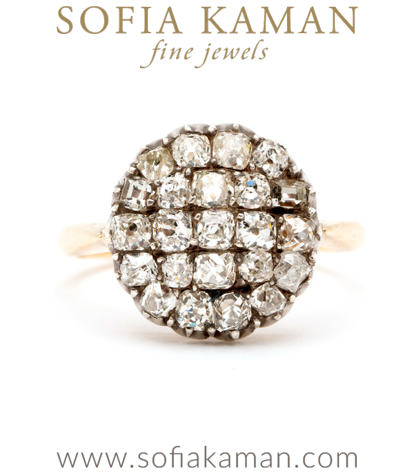 Vintage Victorian Old Mine Cut Diamond Circular Cluster Ring Just One Of Our Many Vintage Engagement Rings curated by Sofia Kaman.