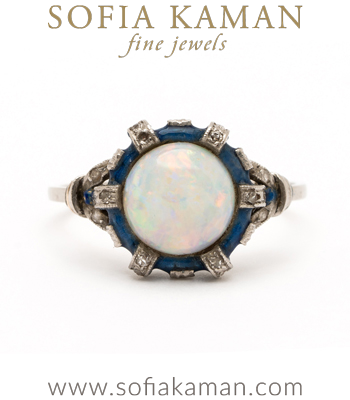 Enamel Stacking Rings Vintage Edwardian Platinum Opal Enamel Rose Cut Diamond Accent Bohemian Stacking Ring curated by Sofia Kaman
