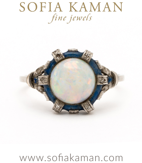 Vintage Edwardian Platinum Opal Enamel Rose Cut Diamond Accent Bohemian Stacking Ring curated by Sofia Kaman.