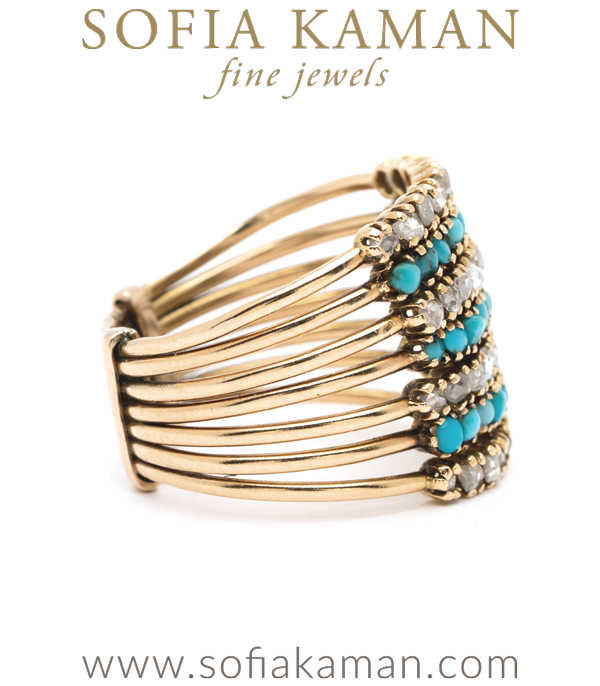 Victorian Rose Cut Diamond Turquoise Harem Ring
