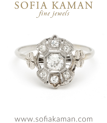 Edwardian White Gold Old European Diamond Clover Vintage Engagement Ring curated by Sofia Kaman