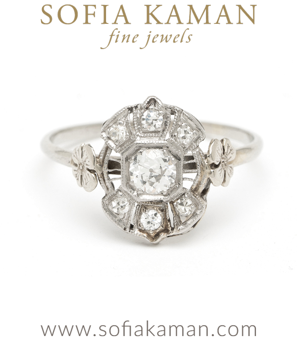 Edwardian White Gold Old European Diamond Clover Vintage Engagement Vintage Engagement Ring curated by Sofia Kaman.