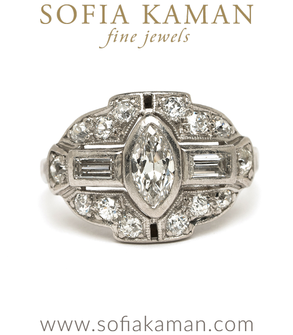 Vintage Art Deco Marquise Old European Diamond Vintage Engagement Ring curated by Sofia Kaman.