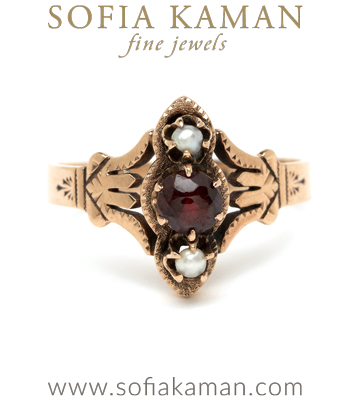 Vintage Victorian Rose Gold Pearl Garnet Unique Boho Statement Ring curated by Sofia Kaman