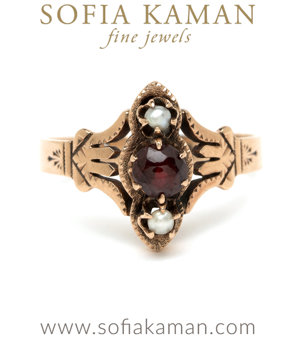 Vintage Victorian Rose Gold Pearl Garnet Unique Boho Statement Ring curated by Sofia Kaman.