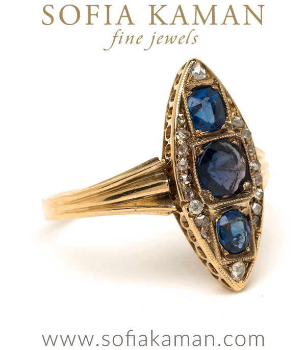 Rose Cut Diamond Sapphire Boho Ring