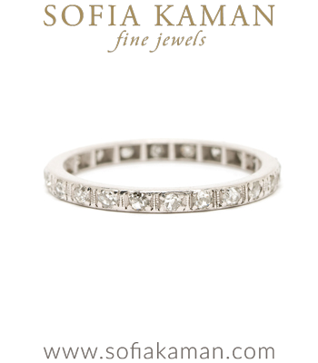 Vintage Platinum Single Cut Diamond Wedding Eternity Band curated by Sofia Kaman