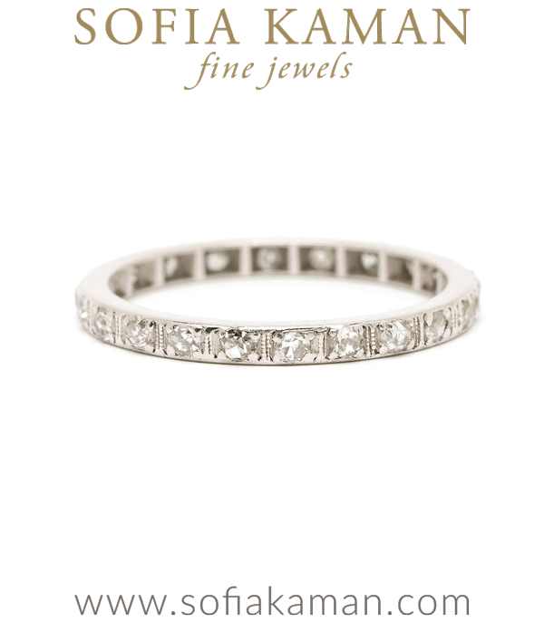 Vintage Platinum Single Cut Diamond Wedding Eternity Band curated by Sofia Kaman.